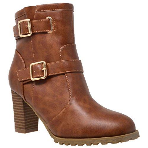 KS & CO Women's Ankle Boot Gold Buckle Strap Block Heel Booties Chestnut Brown SZ - Ks Stores