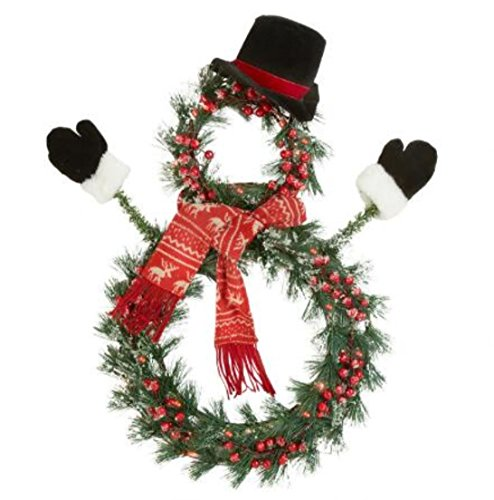 """Snowman Door Wreath - 23"""" LED Lighted Holiday Snowman Wreath with Hat and Scarf"""