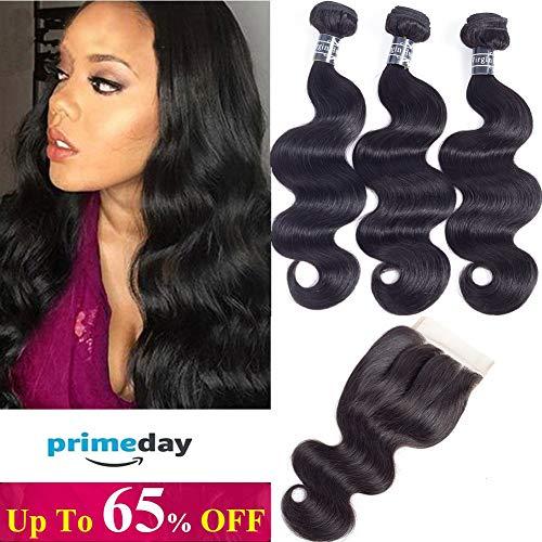 Amella Hair Brazilian Body Wave Virgin Hair 3 Bundles with Three Part Closure (14 16 18+12,Natural Black) 100% Unprocessed 8A Brazilian Body Wave Human Hair Weft with Lace Closure Brazilian Body Wave