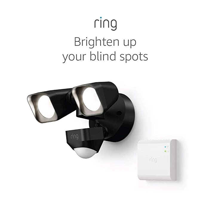 Ring Smart Lighting – Floodlight, Wired, Outdoor Motion-Sensor Security Light, Black (Starter Kit)
