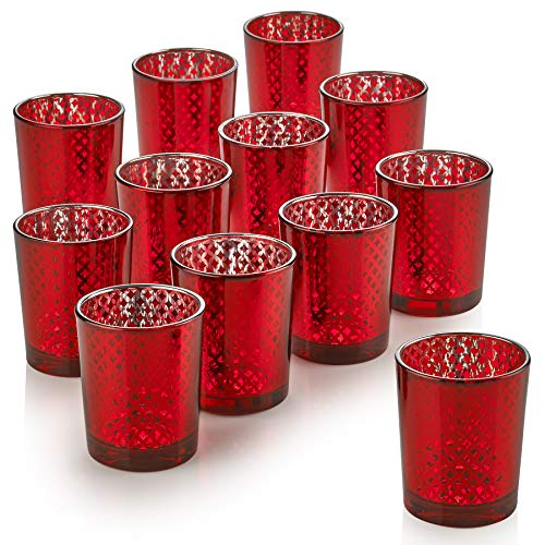 PARNOO Mercury Glass Candle Holders for Votive Candles and Tealights Set of 12 - Lattice Red Finish Perfect for Wedding and Home Decor (Candle Holders Red)