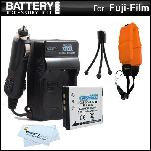 Digital Pix Camera Cars Micro (Battery And Charger Kit For Fuji Fujifilm FinePix XP200, XP170, XP150, XP100 Waterproof Digital Camera Includes Extended Replacement (1100Mah) NP-50 Battery + Ac/Dc Rapid Travel Charger + Floating Strap + MicroFiber Cloth + More)