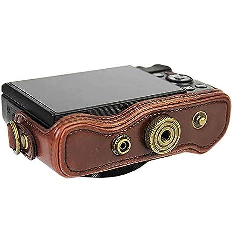 First2savvv XJPT-G7XII-01S01 Custodia Fondina in pelle sintetica per macchine fotografiche reflex compatibile con Canon PowerShot G7 X Mark II .G7X M2 nero cinturino della fotocamera