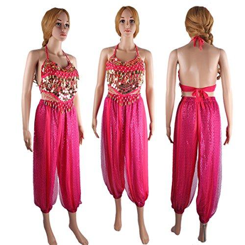 Abbigliamento Blu Rose per Chiffon La della SymbolLife Pantaloni Ventre Signora Danza del rilievo Con Top cassa la marino TZRTIfqx