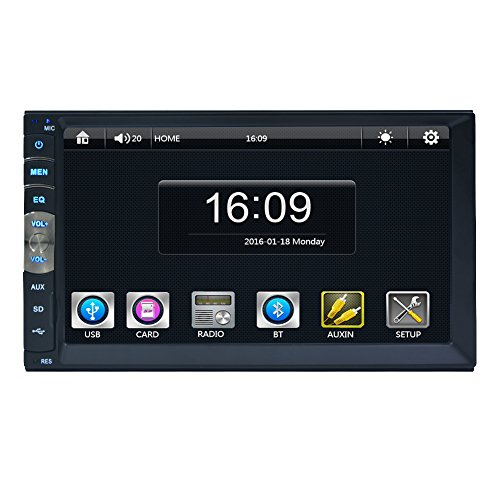 7018B 7Inch LCD HD Double DIN Car In-Dash Capacitive Touch Screen Bluetooth Car Stereo FM MP3 MP5 Radio Player with Wireless Remote Control(No-CD DVD Player) by EinCar