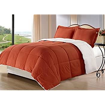 borrego king size 3 piece burnt orange color down alternative comforter set blanket with pillow