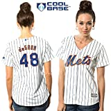 Jacob deGrom New York Mets #48 MLB Womens Cool Base Home Jersey White (Large