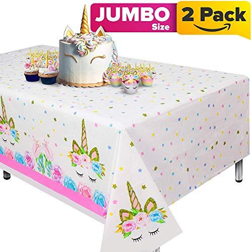 Cubierta de mesa de unicornio de 2 piezas para fiesta de cumpleanos, suministros de fiesta ideales para decoracion de baby shower tematica de unicornio y decoracion de cumpleanos de unicornio