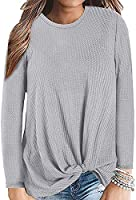 Sundray Womens Twist Knot Blouse Waffle Knit Shirts Cute Tops Round Neck Long Sleeve Tunic