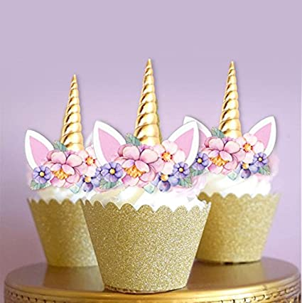 Amazon Unicorn Gold Horn Edible Cupcake Cake Toppers X12