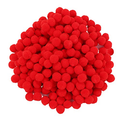 Sumind 250 Pieces Mini Pompoms Small Fluffy Pom Poms for Decor Arts Crafts DIY, Red (10 mm)