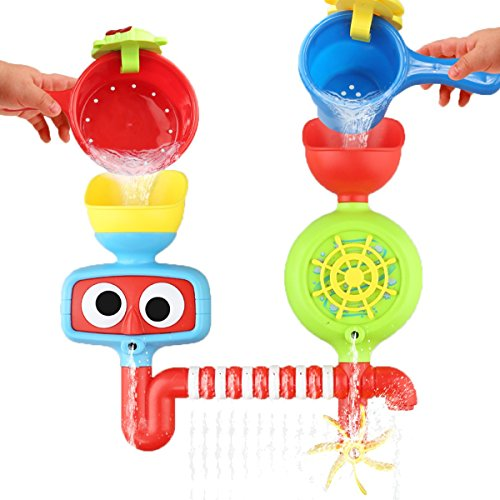 Baby Bath Toy - Waterfall Water Station with Two Stackable Cups by Playboom - Enhance Your Baby's Thinking Ability and Creativity Great gift For Boys - Girls-Toddlers Kids