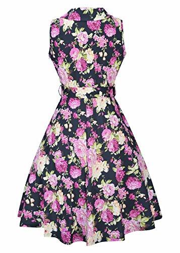 Vestidos de mujer Estilo de verano Audrey Hepburn Swing Cocktail vestido de noche Negro