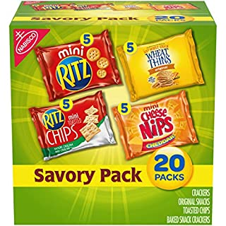 Nabisco Savory Cracker Variety Pack, RITZ, Cheese Nips, Wheat Thins & RITZ Toasted Chips Sour Cream and Onion, Halloween Treats, 20 Snack Packs
