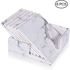WAYIFON Coasters for Drinks, 6 PCS Premium PU Leather Coaster with Holder, Heat Resistant Drink Coaster - Protect Tabletop from Stains Water Rings and Damage, Housewarming Gift - Square Marble White