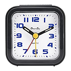 DreamSky Non Ticking Analog Alarm Clock With Snooze And Nightlight , Battery Operated , Ascending Beep Alarms . Simple Compact Travel Alarm Clcok . (small)