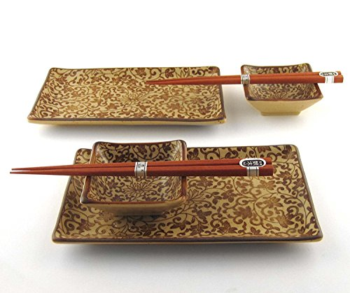 Japanese Sushi Plates Set for Two with Chopsticks, Sepia Karakusa by M.V. Trading