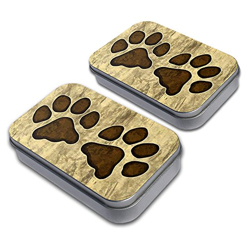 Grungy Pet Paw Prints Decorative Craft Trinket Metal Tin Box Set of 2 (Trinket Tin)