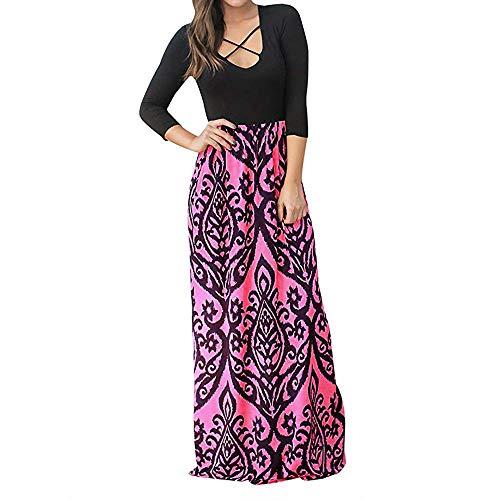 (KANGMOON Women Summer Dress Women Ladies Crisscross Print Long Sleeve High Waist Boho Long Maxi Dresses)