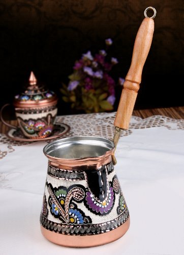 (Unique Copper Milk Warmer Stovetop Pot (Cezve/Ibrik) XXL 20 Oz. Hand made hand painted in Turkey)
