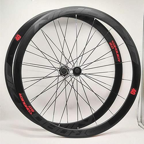 (MEROCA C6.0 Super-Light Aluminum Four Sealed Bearings Flat Spokes Racing 40 Rims Road Bike Wheel 700C with Anti-cursor Wheels Rims)