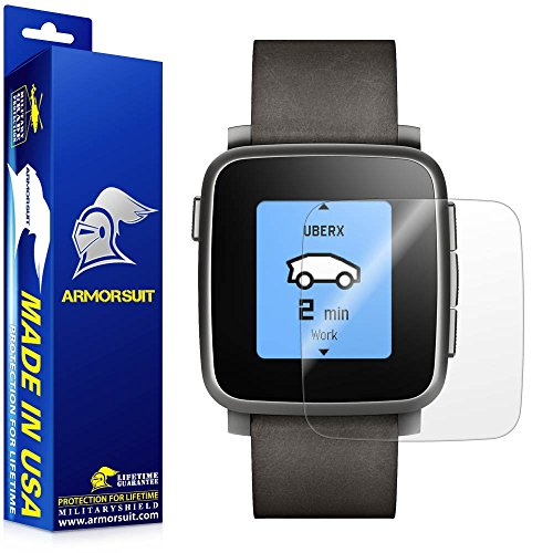 ArmorSuit Pebble Time Steel Screen Protector (2 Pack) Full Coverage MilitaryShield Screen Protector for Pebble Time Steel -HD Clear Anti-Bubble (Piece 2 Pierced Lighting)