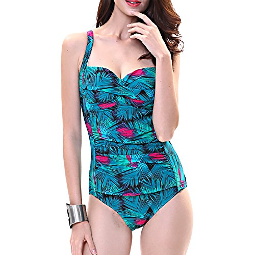 Belleshine Women's Plus Size High Waist Printing One Piece Bikini Swimsuit(BE,10)