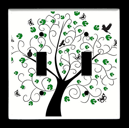 (Double Toggle (2-toggle) Light Switch Plate Cover - Trees - Spring Tree Green Leaves Butterfly Bird Design #QJmfeI)