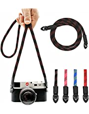 Eorefo Camera Strap Vintage 100cm Nylon Climbing Rope Camera Neck Shoulder Strap for Micro Single and DSLR Camera (Black/Red)