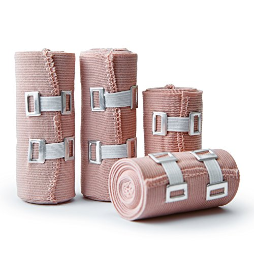Premium Elastic Bandage Wrap Compression Roll, Set Of 4 Pack FDA Approved Polyester Cotton. Two Rolls Of Each Size, 4 Inch x 5 Yards & 3 Inch x 5 Yards Which Includes Clip With Hook and Loop Closure.