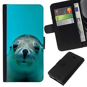 NEECELL GIFT forCITY // Billetera de cuero Caso Cubierta de protección Carcasa / Leather Wallet Case for LG OPTIMUS L90 // LINDO FELIZ LEÓN DE MAR DEL PERRO