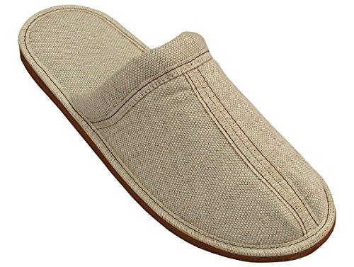 Herren Hausschuhe Pantoffeln Flachs Leinen Modell ML01