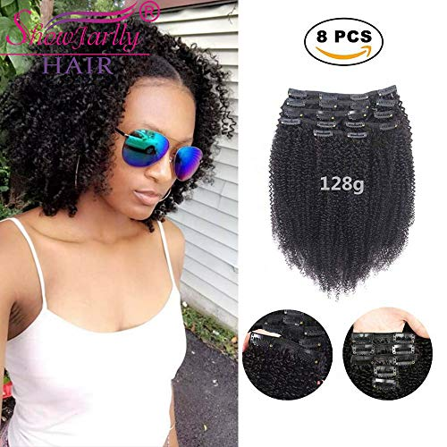 Afro Kinky Curly Clip ins Hair Extensions Human Hair,SHOWJARLLY 8Pcs/128g 10