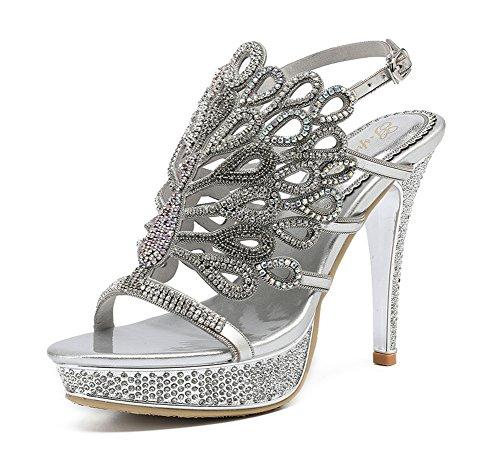 Heel Sandalias Real Party Zapatos De Señoras Nvxie Imitación Diamante Silver High Low Strappy Mid Tamaño Pavo Prom Mujeres Sfw6wxqXB