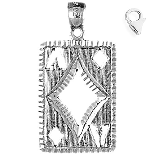 Jewels Obsession Playing Cards, Ace Of Diamonds Pendant | Sterling Silver 29mm Playing Cards, Ace Of Diamonds with 7.5