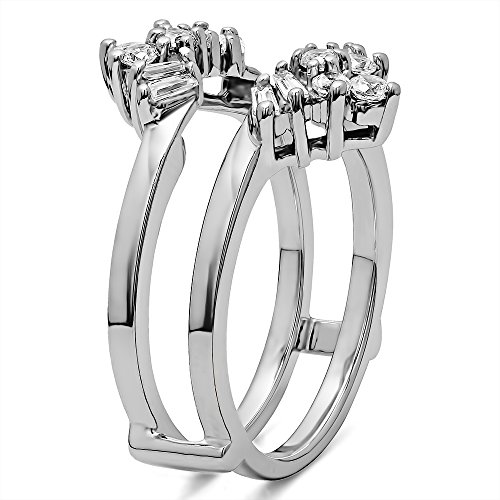 TwoBirch 0.27 Ct. V Shaped Round and Tapered Baguette Ring Guard in Sterling Silver with Cubic Zirconia