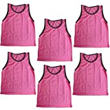 Blue Dot Trading Youth High Quality 6 Pink Sports Pinnie Scrimmage Training Vests