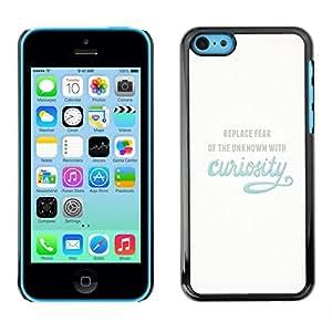 Caucho caso de Shell duro de la cubierta de accesorios de protección BY RAYDREAMMM - Apple iPhone 5C - Curiosity Exploration Blue Inspiring Text Motivational