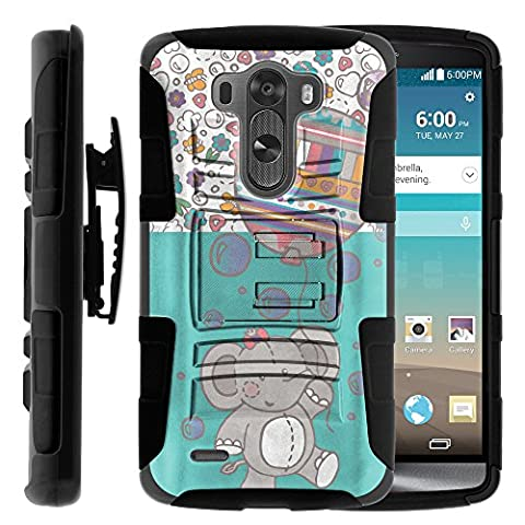 LG G3 Phone Case, LG G3 Belt Clip, Dual Layer Hybrid Armor Hard Cover with Built in Kickstand and Exclusive Illustrations for LG G3 D850, VS985, D851, LS990, US990 (AT&T, T Mobile, Verizon, Sprint, US Cellular) from MINITURTLE | Includes Screen Protector - Cute Elephant (Lg G3 Phone Casing)