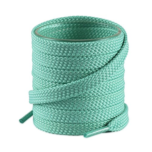 High-top Shoes' Thick Flat Shoelaces for Men & Women, 2 Pair Pack, 63in(160cm), Mint Green