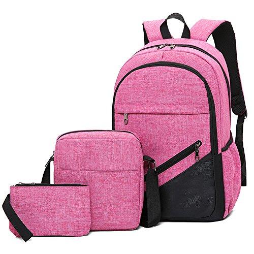 Tres Computadora Hombres Piezas Backpack Ocio Ishiné Bolsa Color Viaje Rosa Lona Sólido Para Mochila Negocios Portatil De Ordenador Set 5XPqpgwx