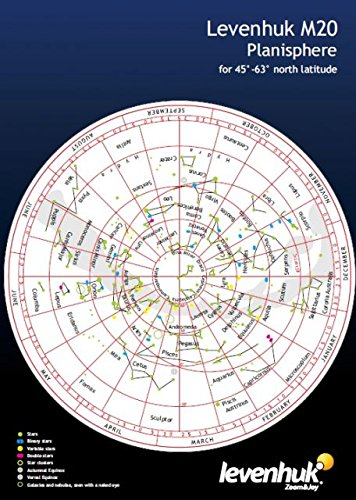 Levenhuk M20 Large Planisphere rotating star chart for 45°-63° north latitude - Shopping Center Polaris