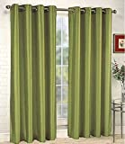 Green Solid 58-Inch Wide X 108'' Lenth Solid Grommet Faux Silk Window Curtain Panel Drape 63 84 95 108 Many Color Mira