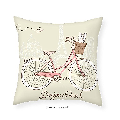 - VROSELV Custom Cotton Linen Pillowcase Dog Romantic Postcard from Paris Pattern Dog in Basket of the Bicycle Illustration for Bedroom Living Room Dorm Egg Shell and Coral 24