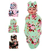 Gellwhu Baby Blankets,Newborn Baby Sleep Swaddle Blanket,Newborn Baby Beanie Hat,Pack of 3 sets