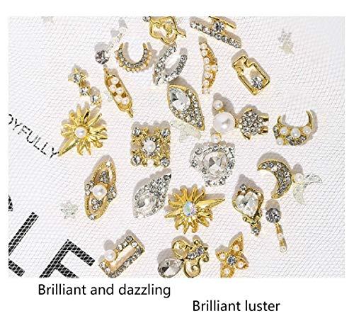 3D Rhinestones for Nails, 20 Pcs Luxury Nail Art Rhinestones Charms Crystals Diamonds Gold Metal Gem Stones for DIY Nail Art Beauty Design, Nail Decoration Craft
