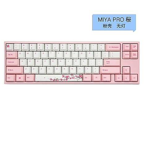 LCRGMPC Cherry Blossom Pink Girl Teclado mecánico Mute Juego Oficina Teclado Ergonomía Tipo-C Interfaz