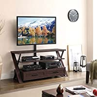Stinson 3 Shelf Flat Panel TV Stand Black Glass Shelves/Wood Legs Dimensions: 54W x 21.5D x 26-69.25H Weight: 144 lbs