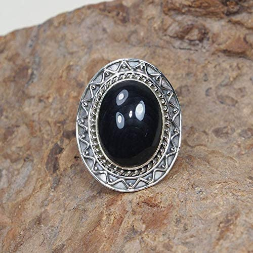 Natural Black Onyx sterling silver ring size 7.5