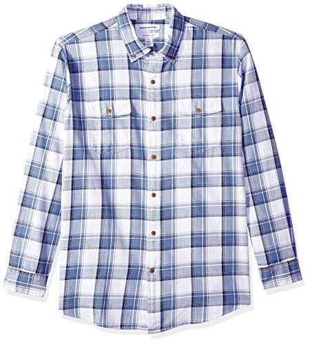 Amazon Essentials Men's Regular-Fit Long-Sleeve Two-Pocket Twill Shirt, Navy/White Plaid, Large